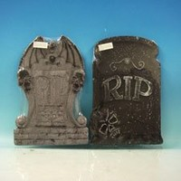 Set of 2 Asst. Halloween Tombstones, Props, Decorations and Accessories