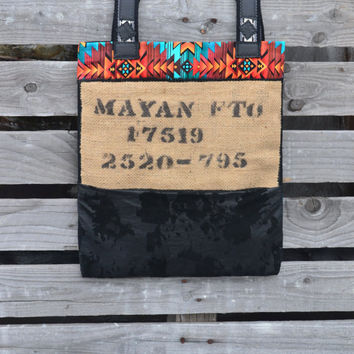 Burlap and Leather Tote Bag - Coffee Burlap Tote - Leather Tote - Mayan - SALE