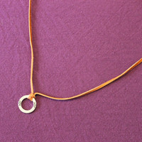 Necklace: Silver Ring with Inspirational Saying on plain Leather Cording
