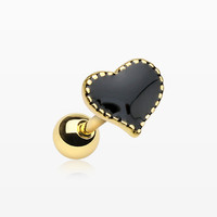 zzz-Golden Black Heart Cartilage Tragus Earring
