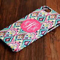 Seamless Vibrant Floral Monogram 3D-Wrap iPhone 5S Case iPhone 5 Case iPhone 5C Case iPhone 4S Case iPhone 4 Case iPhone 6 Rubber Case