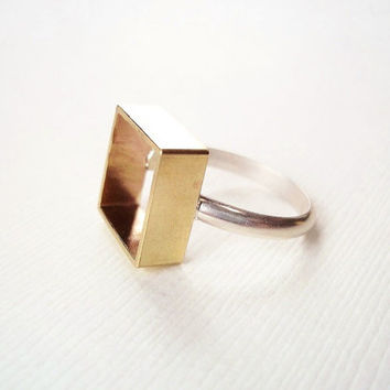Square Ring. Brass Box on Sterling Silver Ring. Modern Geometric Jewelry