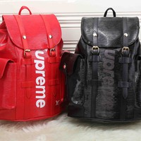 """Louis Vutitton×Supreme"" Unisex Casual Fashion Personality Logo Letter Backpack Travel High Capacity Double Shoulder Bag"
