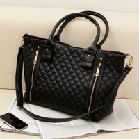 Best Selling New Retro Office Lady PU Quilted Shoulder Tote Bag Hobo Handbag Black