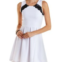 White Combo Textured Lace-Trim Skater Dress by Charlotte Russe