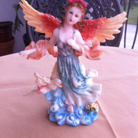 Vintage Winged Angel Pottery Figurine , Collectible , Home Decor