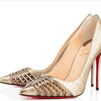 Christian Louboutin Fashion Edgy Rivets Pointed  Hollow Heels Shoes
