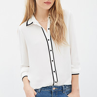 Contrast-Piped Chiffon Blouse