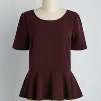 Cinch-Perfect Top in Garnet | Mod Retro Vintage Short Sleeve Shirts | ModCloth.com