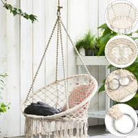 Solid Cotton Rope Hammock Chair  Comfort Indoor Swing Seat  Handmade Haning Chair  (Only Hammock Chair)