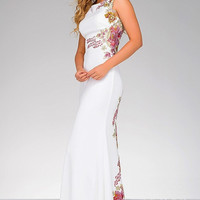 Ivory Floral Fitted Long Prom Dress 33679