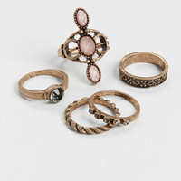 goldtone ring set with pink stones | maurices
