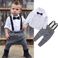 Baby Boy Clothes Set Outfits Long Sleeve Shirt Tops Pants Overalls Kids Gentleman Clothing Baby Boys