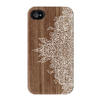 White Hand Drawn Mandala Pattern on Wood Grain Texture Full Wrap Premium Tough Case for iPhone 4 / 4s by UltraCases