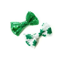 St. Patrick's Day Sequin and Shamrock Mini Bow Hair Clips Set of 2