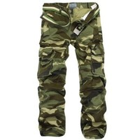 Aubig 100% Cotton Outdoor Woodland Camouflage Pants CARGO PANTS Military for Men 32