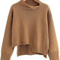 Coffee Split Hem Long Sleeve Sweater