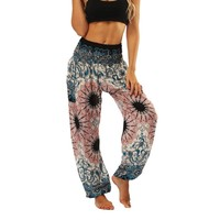 Elastic Waist Loose Fit Baggy Gypsy Yoga Harem Pants Women's Aztec Tribal Design Wide Leg Outfits One Size
