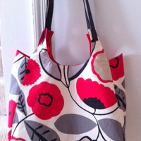 SALE Large Handbag, Floral, Purse, Poppy, Leather Straps, Red, Black, White