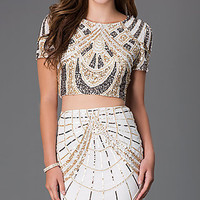 Two Piece Short Sleeve Sequin Dress by Shail K.