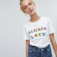 Adolescent Clothing t-shirt with always late print at asos.com