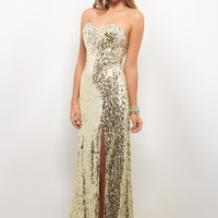 Sexy Column Sweetheart Brush Train Gold Prom Dress With High Slit Style 9598,Gold prom dress