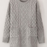 Gray Cable-Knit Pattern Double Pocket Sweater