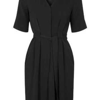 Belted Button-Down Dress - Black