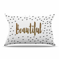 "Suzanne Carter ""Beautiful"" Gold Typography Pillow Case"