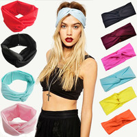 Women's Cotton Turban Twist Knot Head Wrap Headband Twisted Knotted Hair Band