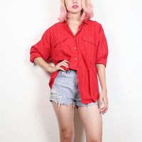 Vintage 1980s Shirt Red Black Saved By The Bell Print Boyfriend Shirt Long Sleeve Collared Shirt New Wave 80s Preppy Hipster Top L Large XL