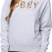 Obey Floral Worldwide Heather Grey Pullover Hoodie