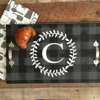 Serving Trays,Monogrammed Personalized Trays,Ottoman Tray,Buffalo Plaid Decor,Wood Serving Tray,Trays with Handles,Buffalo Plaid Home