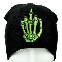 Skeleton Hand Middle Finger Beanie Alternative Punk Clothing Knit Cap
