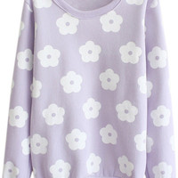 Purple Floral Print Long Sleeve Hoodie Sweater