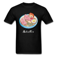 Noodle Swimmer T Shirt Anime Tee Ponyo On The Cliff Tshirt Men Tops Naruto Ramen T-shirt Bowl Printed Funny Clothing
