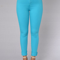 Super High Waist Denim Skinnies - Turquoise