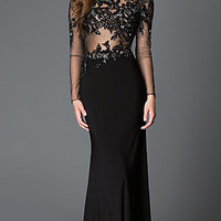 Open Back Long Sleeve Xcite Dress with Lace Embroidered Sheer Bodice
