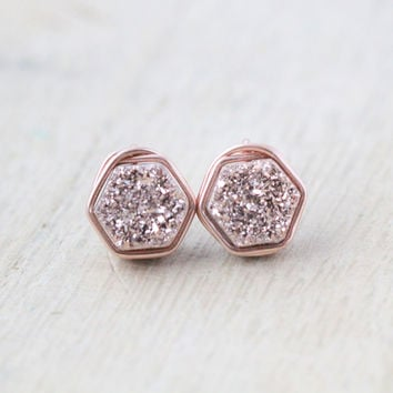 Gilded Hexagon Druzy Studs - Rose Gold