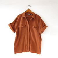 vintage linen & cotton shirt. minimalist button down t shirt. copper brown short sleeve top. safari pocket shirt.