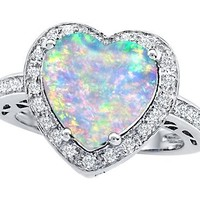 Star K 10mm Heart-Shape Simulated Opal Wedding Ring Size 6