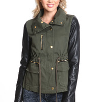 LEATHER SLEEVE ARMY CARGO JACKET