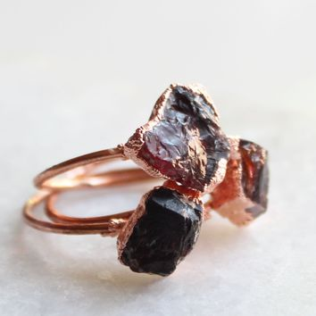 Raw Garnet Copper Ring