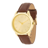 Gold Brown Leather Watch