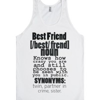 Best Friend Definition-Unisex White Tank