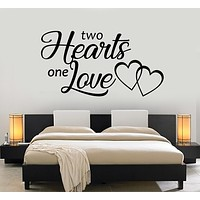 Vinyl Wall Decal Two Hearts One Love Inscription Bedroom Romance Stickers Mural (g1345)