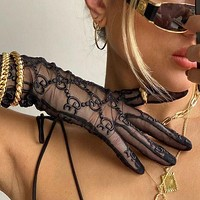 GG black mesh embroidered lace gloves