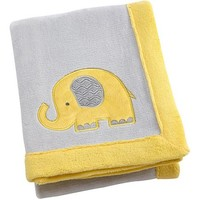 Little Bedding by Nojo Elephant Time Applique Coral Blanket, Yellow - Walmart.com