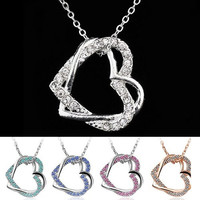 Fashion Charming Silver Plated 2 Heart Crystal Pendant Necklace Long Chain = 1946752516