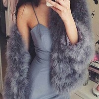 FLUFF FAUX FUR COAT
